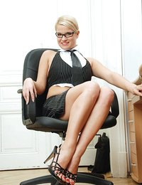 Horny business woman takes a..
